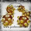 Glasrondelle Braun mit Dots Beige-Gelb 15x9mm