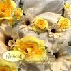 Kopfschmuck Band Boheme Blumen Reihe gelb cremeweiss