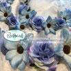 Kopfschmuck Band Boheme Blumen Reihe blau