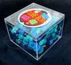 Holzperlenbox, türkis-blau mix