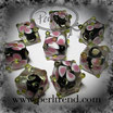 Glaswürfel Flower Schwarz, Rosa-Weiss-Gelb 10mm