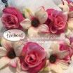Kopfschmuck Band Boheme Blumen Reihe dunkelrosa cremeweiss