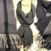 Schal Karomuster Streifen ZickZack schwarz, grau, beige