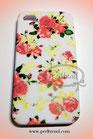 iPhone 4/4S weiss mit orangeroten Rosen Schutzhülle