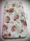 iPhone 4/4S weiss mit rosa Rosen Schutzhülle