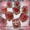 Glaswürfel Flower Rot, Rosa-Weiss 10mm