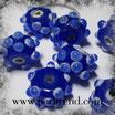 Glasrondelle Dunklelbau mit Dots Weiss-Hellblau 15x9mm