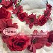 Kopfschmuck Band Boheme Blumen Reihe rot