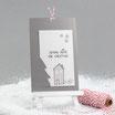 "Weihnachtskarte ""Coming Home"" grau-rot"