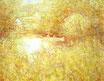 Auf der Saale - Format: 50 x 65 cm - Acryl auf Leinwandbogen