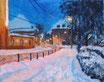 Winterstraße - Format: 24 x 30 cm - Acryl auf Leinwand