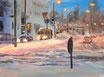 verschneite Kreuzung - Format: 30 x 40 cm - Acryl auf Leinwand