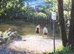 Fußbad in der Saale -Format: 30 x 40 cm - Acryl auf Leinwand