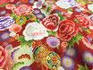 Tissu japonais : Fleurs -Tambour - F11-4  Rouge brique