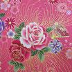 Tissu japonais : Rose en fil doré F18