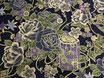 Tissu japonais : Fleur rose en gris sur le fond noir - F13