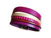 Bracelet manchette en cuir JOA by RISTMIK fuschia et doré- ref202047