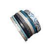 Bracelet manchette en cuir JOA by RISTMIK bleu et argent- ref202068