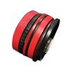 Bracelet manchette en cuir JOA by RISTMIK Rouge et noir- ref202050