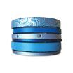Bracelet manchette en cuir JOA by RISTMIK bleu- ref202045