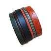Bracelet manchette en cuir JOA kaki et orange - ref202030