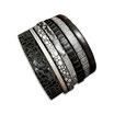 Bracelet manchette en cuir JOA by RISTMIK noir et argent- ref202048