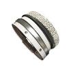 Bracelet manchette en cuir JOA by RISTMIK blanc et argent- ref202076