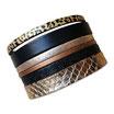Bracelet manchette en cuir JOA by RISTMIK noir et doré- ref202046