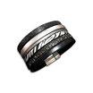 Bracelet manchette en cuir JOA by RISTMIK noir t argent- ref202072