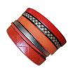 Bracelet manchette en cuir JOA by RISTMIK orange et doré- ref202066