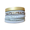 Bracelet manchette en cuir JOA by RISTMIK Blanc et doré - ref202053