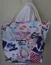 """Strandtasche """"Fische"""" mit Kordelträgern, Umhängetasche aus Canvas, Stofftasche"""