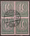 68 Dienstmarke gestempelt Viererblock (DR)