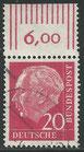 BRD 185 x  gestempelt mit Bogenrand oben (RWZ 6,00)