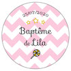 """Les Confettis géants """"Baptême"""" chevrons rose"""