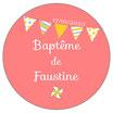 """Les Confettis géants """"Baptême"""" Fanions rose"""
