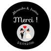 """Le Magnet Mariage """"Merci"""" Noir et Blanc"""