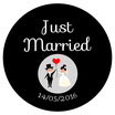 "Le Badge ""Just Married"" Noir & Blanc"