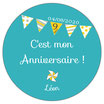"Pack Anniversaire Fanions ""Turquoise"""