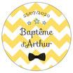 """Les Confettis géants """"Baptême"""" chevrons jaune"""