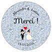 "Le miroir Mariage ""Merci"" Liberty bleu"
