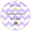 """Les Confettis géants """"Anniversaire"""" chevrons lilas"""