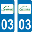 Lot de 2 stickers Auvergne  03 Allier