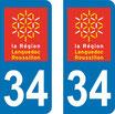 Lot de 2 adhésifs Languedoc Roussillon 34 Hérault