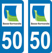 Lot de 2 stickers basse Normandie n° 50 Manche