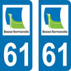 Lot de 2 stickers basse Normandie n° 61 orne