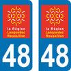 Lot de 2 adhésifs Languedoc Roussillon 48 Lozère
