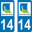 Lot de 2 stickers basse Normandie n° 14 calvados