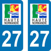 Lot de 2 stickers haute  Normandie n° 27 Eure
