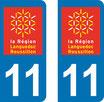 Lot de 2 adhésifs Languedoc Roussillon 11 Aude